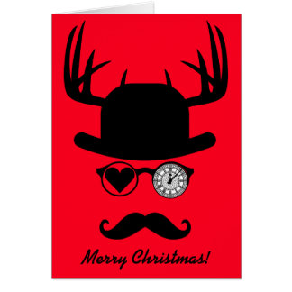 Merry Christmas Greetings Mustache Big Ben London Card