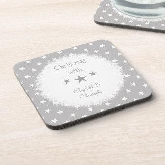 Merry Christmas grey and white stars Coaster