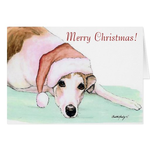 Merry Christmas! Greyhound Art Christmas Card