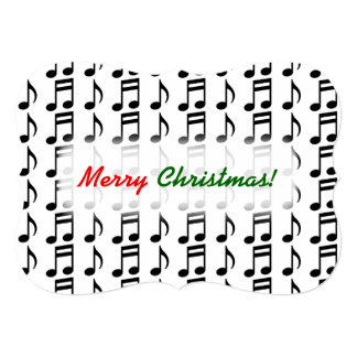 """""""Merry Christmas!"""" + Grid of Musical Notes Card"""