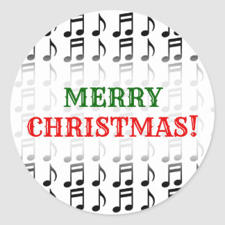 """Merry Christmas!"" + Grid of Musical Notes Classic Round Sticker"
