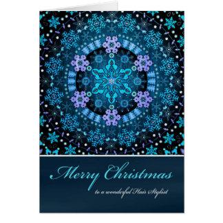 Merry Christmas Hair Stylist, Blue Boho Snowflakes Card