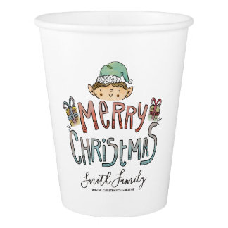 Merry Christmas. Hand Drawn Elf. Paper Cup