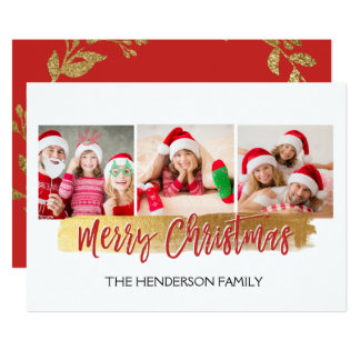 Merry Christmas Hand Lettered Script 3 Photo Card