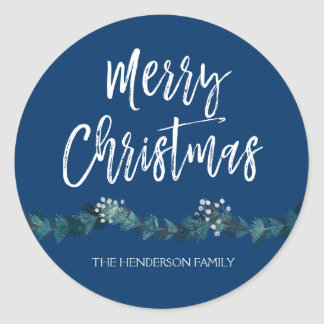 Merry Christmas Hand Lettered Script Christmas Classic Round Sticker