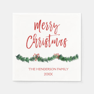 Merry Christmas Hand Lettered Script Christmas Disposable Napkins