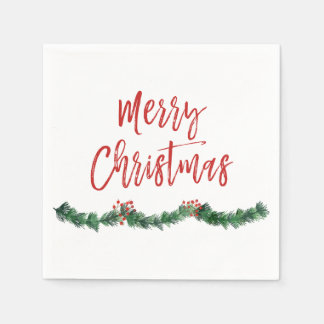 Merry Christmas Hand Lettered Script Christmas Paper Napkins