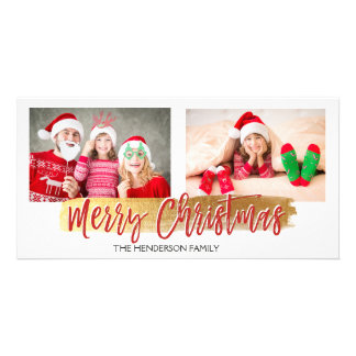 Merry Christmas Hand Lettered Script Photo Card