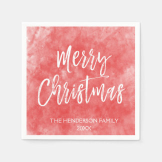 Merry Christmas Hand Lettered Script Watercolor Paper Napkin