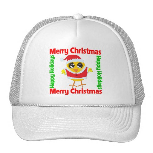 Merry Christmas Happy Holiday CHICK Mesh Hat