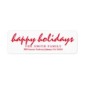 Merry Christmas Happy Holiday Return Address Label