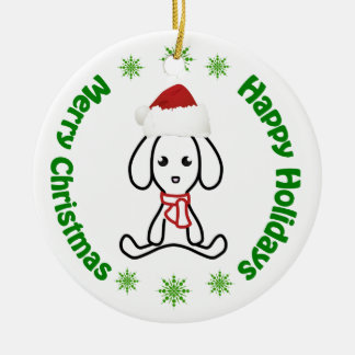 Merry Christmas/Happy Holidays Round Ceramic Decoration