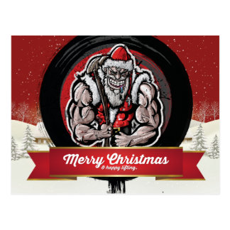 Merry Christmas & Happy Lifting Postcard