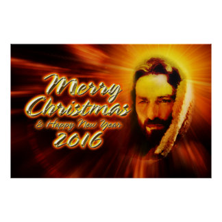 Merry Christmas Happy New Year 2016 Jesus Poster