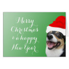 Merry Christmas Happy New Year Corgi Santa Card