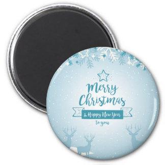 Merry Christmas & Happy New Year Elegant Unique 6 Cm Round Magnet