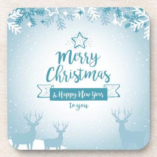 Merry Christmas & Happy New Year Elegant Unique Beverage Coaster