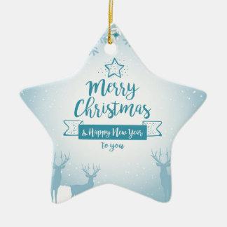 Merry Christmas & Happy New Year Elegant Unique Ceramic Star Decoration