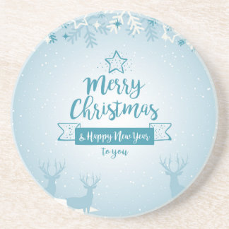 Merry Christmas & Happy New Year Elegant Unique Coasters