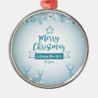 Merry Christmas & Happy New Year Elegant Unique Silver-Colored Round Decoration