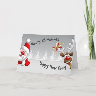 Merry Christmas - Happy New Year - Folded Greeting Card