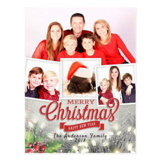 Merry Christmas Happy New Year Greeting Photo Card