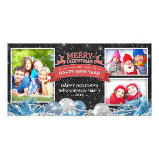Merry Christmas & Happy New Year Greeting Photo Customized Photo Card