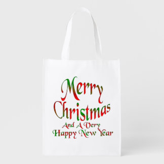 Merry Christmas Happy New Year Grocery Bags