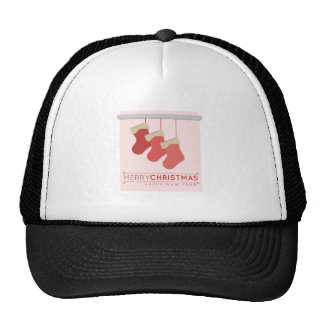 Merry Christmas Happy New Year Mesh Hats