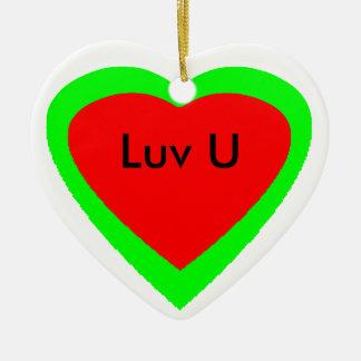 Merry Christmas Happy New Year Heart I Luv U Ceramic Heart Decoration