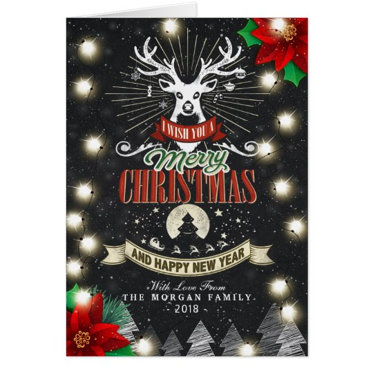 Merry Christmas & Happy New Year Holiday Greetings Card