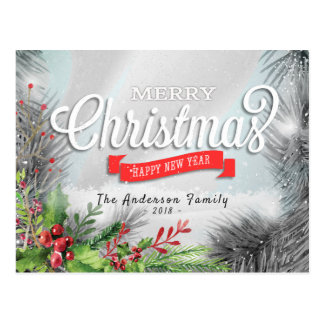 Merry Christmas & Happy New Year Holiday Greetings Postcard