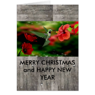 Merry Christmas & Happy New year hummingbird card
