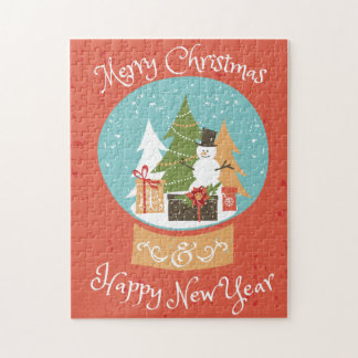 Merry Christmas Happy New Year Jigsaw Puzzle