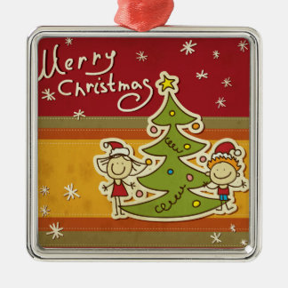 Merry christmas & happy new year,jule celebration, Silver-Colored square decoration