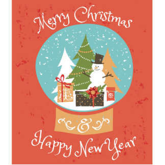 Merry Christmas Happy New Year Photo Sculpture Badge