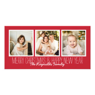 Merry Christmas Happy New Year Red 3 Photo Overlay Personalized Photo Card