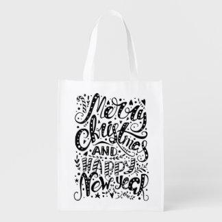 Merry Christmas Happy New Year Reusable Bag