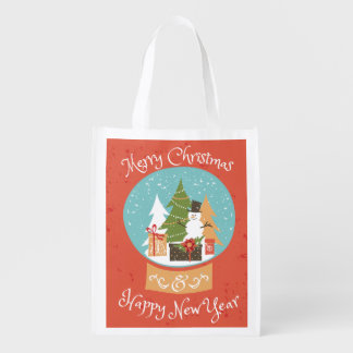 Merry Christmas Happy New Year Reusable Grocery Bag