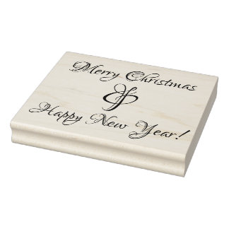 Merry Christmas & Happy New Year Rubber Stamp