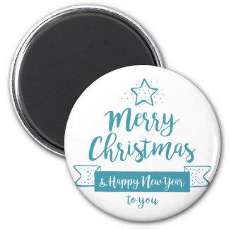 Merry Christmas & Happy New Year Simple Elegant 6 Cm Round Magnet