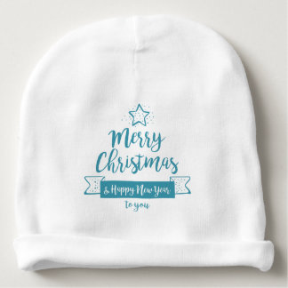 Merry Christmas & Happy New Year Simple Elegant Baby Beanie