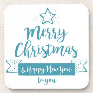 Merry Christmas & Happy New Year Simple Elegant Beverage Coasters