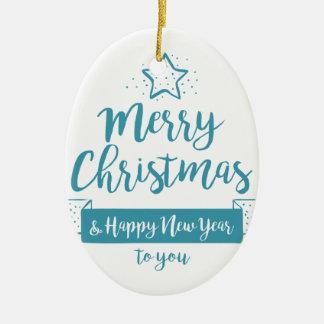 Merry Christmas & Happy New Year Simple Elegant Ceramic Oval Decoration