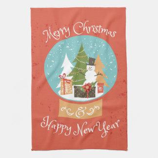 Merry Christmas Happy New Year Tea Towel