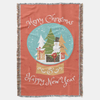 Merry Christmas Happy New Year Throw Blanket
