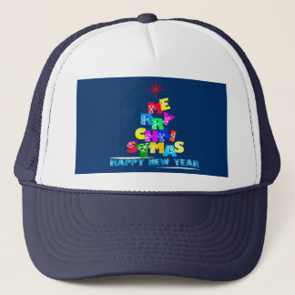 Merry Christmas Happy New Year Trucker Hat