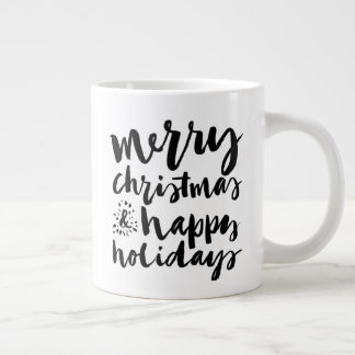 Merry Christmas & Happy New Year Watercolor Large Coffee Mug