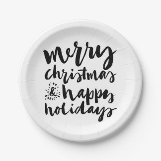 Merry Christmas & Happy New Year Watercolor Paper Plate