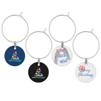 Merry Christmas Happy New Year Wine Charm